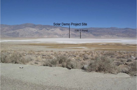 View of Owens Lake Solar Demonstration Project site from Highway 395, looking east. (MWH Americas Inc.)