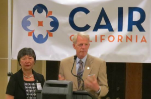 Assemblymembers Mariko Yamada and Roger Dickinson at a CAIR California event marking the end of Ramadan.