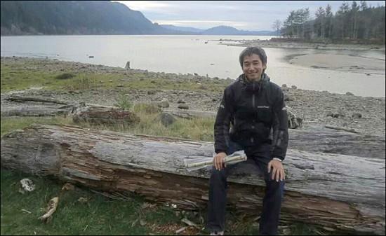 A photo of Yosuke Onishi taken on Nov. 26 near Cougar, Wash.