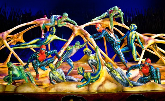 "The amphibious creatures who climb and soar about the giant centerstage ""turtle"" in ""Totem."" (OSA Images)"