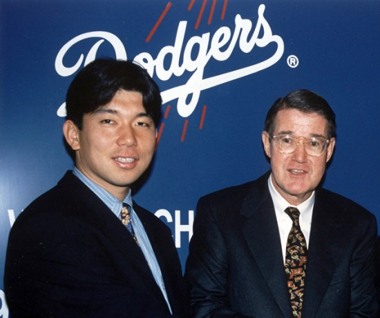 Hideo Nomo and Peter O'Malley at the press conference introducing Nomo at the New Otani Hotel in Los Angeles on Feb. 13, 1995.  Nomo was elected to the Japan Baseball Hall of Fame on Friday. (Jon SooHoo/Los Angeles Dodgers)