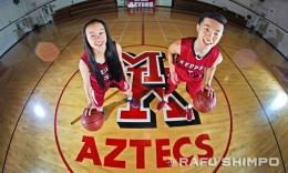 Mark Keppel High's point guards Lauren Saiki, left, and Bailey Kikuchi have a lot in common beyond the numbers on their jerseys. (Photo by MIKEY HIRANO CULROSS, Rafu Shimpo)
