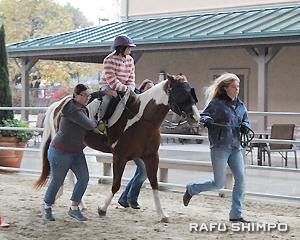 乗馬療法のおかげで上半身のバランスを保つ力が鍛えられ、早足する馬にも上手に乗ることができるようになった