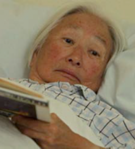 An assisted-living facility resident (Chizuko Omori) gets an unexpected visitor.