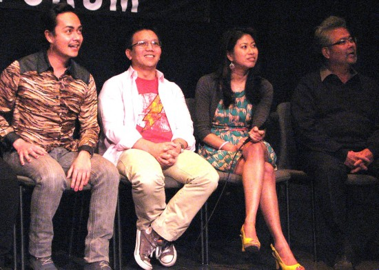 From left: Cast members Jean Franco, Rey Taira, Sandra Young and Randall Nakano. (J.K. YAMAMOTO/Rafu Shimpo)