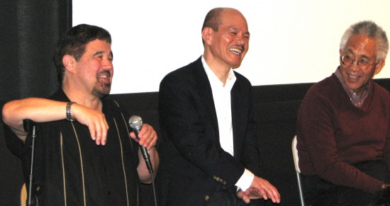 "From left: Professor Lane Hirabayashi of UCLA, filmmaker Toshi Washizu and Professor Masao Suzuki of Skyline College discussed the documentary ""Issei"" and the 100th anniversary of the Alien Land Law last October at New People Cinema in San Francisco Japantown. (J.K. YAMAMOTO/Rafu Shimpo)"