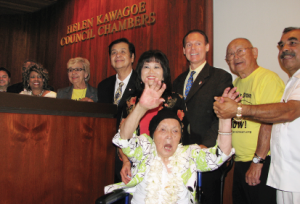 The City of Carson names its Council Chambers after former City Clerk Helen Kawagoe (center).