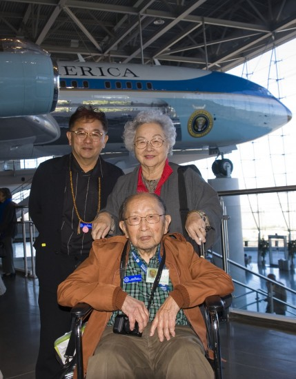 Gary Miyatake and his parents, Archie and Take, at the Reagan Presidential Library with Air Force One in the background. (Photo credit: Toyo/John Gee)