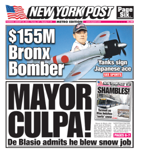 The original cover of The New York Post's Jan. 23 issue.