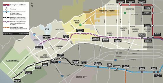 連邦政府から6500万ドルが割り当てられる「ウエストサイド地下鉄延長事業」の地図