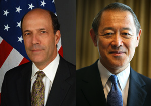 Former U.S. Ambassador to Japan John Roos and former Japanese Ambassador to the U.S. Ichiro Fujisaki