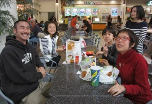 Rising Stars Alumni Ryan Lee (RS 2) with JSPACC members take a lunch break from their Christmas shopping outing