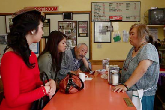 Benkyodo is the place to get mochi and pearls of wisdom from Juanita the waitress (Suz Takeda).
