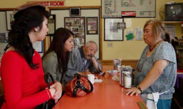 "From left: Wendy Woo, Sandra Young, Hiroshi Kashiwagi and Suz Takeda at Benkyo-do in a scene from ""Infinity & Chashu Ramen."""