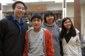Rising Stars Alumni Advisor Curtis Takimoto (RS 2) and Taryn Iwamoto (RS 9) with JSPACC buddies take a break from shopping