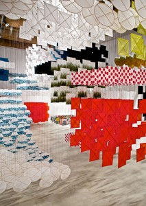 Jacob Hashimoto, Gas Giant, 2012 Installation at Rhona Hoffman Gallery, Chicago Courtesy of the artist/Photo by Cesar Arredondo