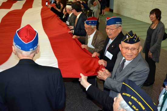 Veterans took part in the ceremonial folding