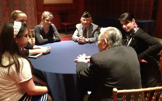 Veterans met with 8th-graders from Matapeake Middle School in Kent Island, Md.