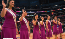 Queen Emily Folick and the Nisei Week Court greeted fans at Staples Center last year, as Blake Griffin (above) and the L.A. Clippers hosted Japanese American Community Night. (MIKEY HIRANO CULROSS/Rafu Shimpo)