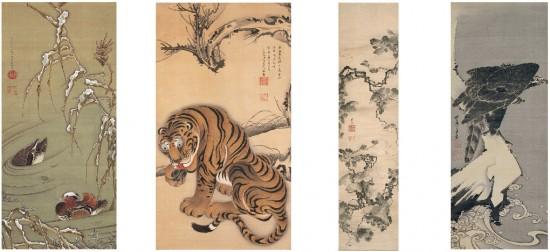 "From left: Itō Jakuchū (1716-1800), ""Mandarin Ducks and Snow-covered Reeds,"" 18th century; ""Tiger,"" ""Grapevines,"" 18th century; ""Eagle,"" 1800, Etsuko and Joe Price Collection."