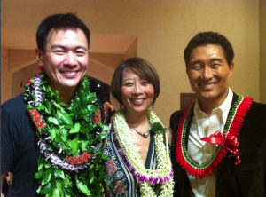 "Joel de la Fuente, Jeanne Sakata and Daniel Dae Kim during the Hawaii performances of ""Hold These Truths."" Among those who attended were Gov. Neil Abercrombie and Rep. Tulsi Gabbard."