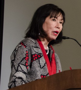 Karen Korematsu, co-founder and executive director of the Fred T. Korematsu Institute for Civil Rights and Education, speaks about her late father. Her brother Ken designed the program and poster for the event. (Bob Hsiang Photography)