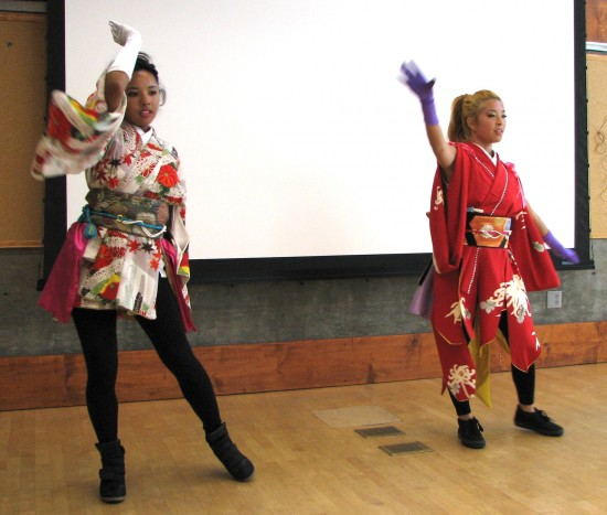 A hip-hop performance was given during a kimono show at the Little Tokyo Branch Library during last week's Nisei Week festivities. (J.K. YAMAMOTO/Rafu Shimpo)