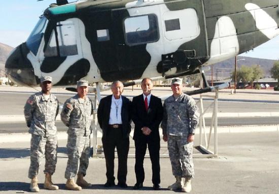 Masao and Scott Takahashi join soldiers at Camp Irwin in San Bernardino.