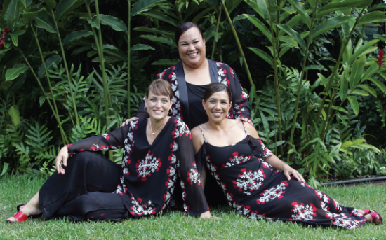 Na Leo members (from left) Nalani Choy, Angela Morales and Lehua Kalima Heine have been performing together for 30 years.