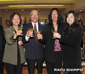 Tak Nishi with (from left) his wife, Keiko; daughter, Naomi; and daughter-in-law, Cristal.