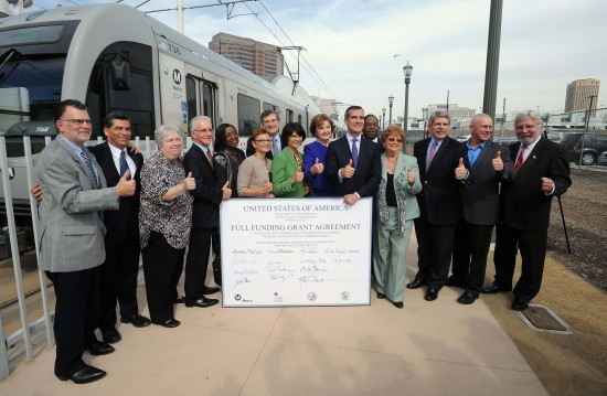 From left: Former Metro Board member Richard Katz, Rep. Xavier Becerra, Santa Monica Mayor and Metro Board member Pam O'Connor, L.A. Councilmember and Metro Board member Paul Krekorian, Metro Board member Jackie Dupont-Walker, FTA Deputy Administrator Therese McMillan, Duarte Councilmember and Metro Board member John Fasana, Rep. Lucille Roybal-Allard, Sen. Dianne Feinstein, L.A. Mayor and Metro Board Vice Chair Eric Garcetti, L.A. County Supervisor and Metro Board member Mark Ridley-Thomas, Lakewood Councilmember and Metro Board Chair Diane DuBois, Supervisor and Metro Board member Zev Yaroslavsky, L.A. Councilmember and Metro Board member Mike Bonin, and Metro CEO Art Leahy. (Photo by Juan Ocampo/Metro)