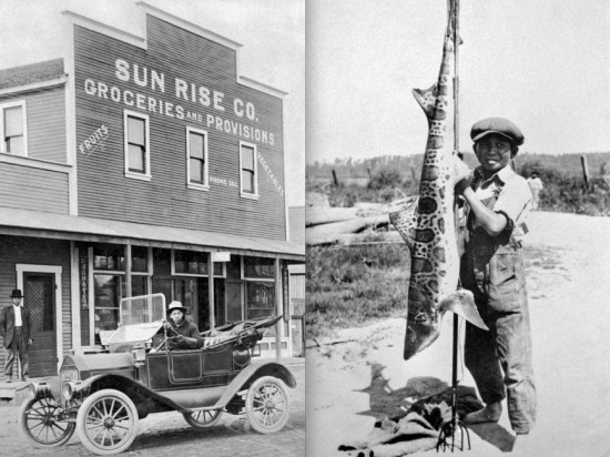 Left: Sun Rise Co. market at Talbert Avenue and Bushard Street, 1910. Yasumatsu Miyawaki standing. Right: Leonard Miyawaki, age 13, with a 47½-pound leopard shark, 1924. (CSU Fullerton, Center for Oral and Public History)