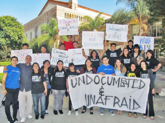 UCLA students rally for immigration reform.
