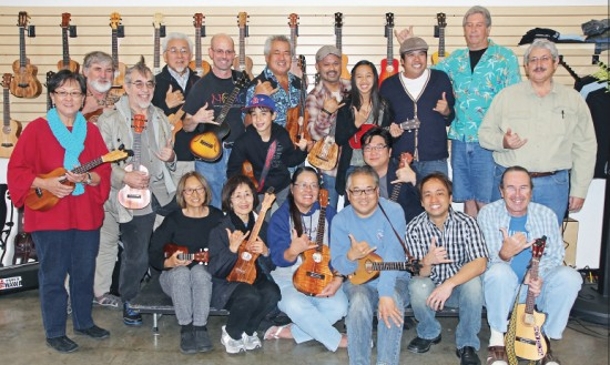 A Feb. 2 ukulele workshop that featured Grammy winners George Kahumoku Jr. (back row, center) and Daniel Ho (front row, second from right). (Photo courtesy Jason Arimoto)