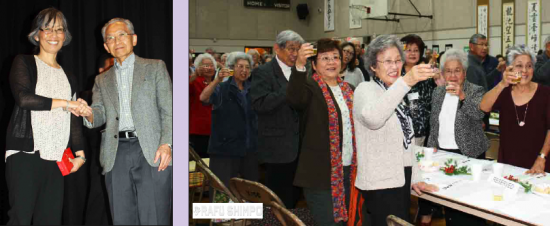 Left: Gail Sharp receives the VJCC Person of the Year award from Jim Shibata. Right: Attendees raise their glasses for a kampai toast for 2014.