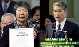 Video images of Assemblymembers Mariko Yamada and Al Muratsuchi discussing ACR 85. Yamada is holding up a copy of a notice informing Japanese Americans that they will be removed from their homes.