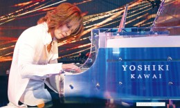 Yoshiki performs Feb. 19 at the Grammy Museum, after announcing the dates of his classical world tour. (MIKEY HIRANO CULROSS/Rafu Shimpo)