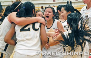 Sato, center, leads the celebration after her Warriors captured the school's first CIF Southern Section championship on Saturday