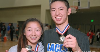 Sidney and Dean Tanioka show off their CIF City Section championship medals, after the LACES girls' and boys' teams each won in Thursday's finals. (Photos by MIKEY HIRANO CULROSS/Rafu Shimpo)