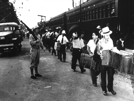 Japanese Latin Americans in the Panama Canal Zone, en route to internment camps in the U.S.