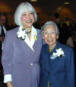 Karyl and Lillian Matsumoto at a South San Francisco City Council swearing-in ceremony in November 2003. (Hokubei Mainichi)