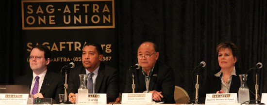 Clyde Kusatsu (second from right) is president of the Los Angeles local of the Screen Actors Guild/American Federation of Television and Radio Artists.