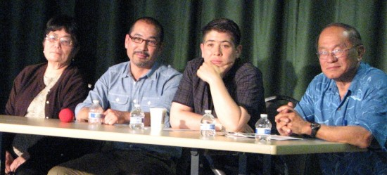 Panelists (from left) Ellen Kameya, Jason Arimoto, riKu Matsuda and Harold Kameya listen to a question from the audience. (J.K. YAMAMOTO/Rafu Shimpo)