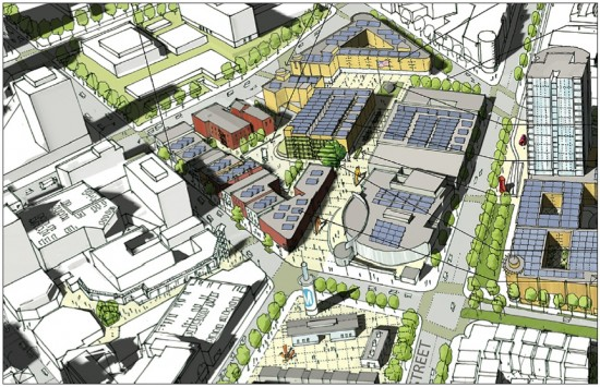 A rendering of First Street North and the Mangrove site shows proposed development.