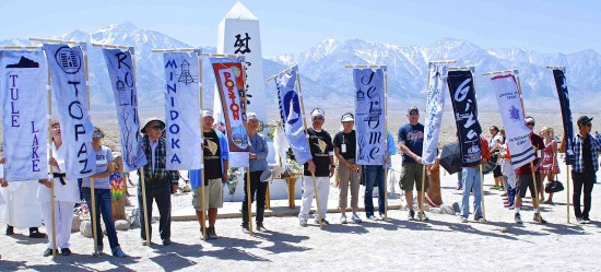 The traditional Roll Call of the Camps during the 44th Manzanar Pilgrimage on April 27, 2013, at the Manzanar National Historic Site. PHOTO CREDIT: Gann Matsuda/Manzanar Committee