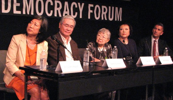 Panelists at the Feb. 22 screening were (from left) Shirley Ann Higuchi, Darrell Kunitomi, Toshi Ito, Patti Hirahara, and Dr. Greg Kimura.