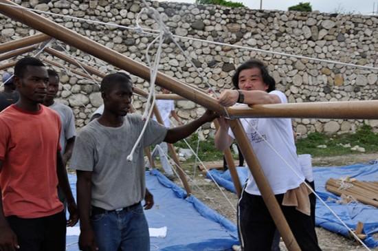 Paper Emergency Shelter for Haiti, Port-au-Prince, Haiti, 2010 (Photo by Shigeru Ban Architects)