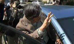 Dorian Nakamoto is surrounded by reporters as he gets into a car in front of his house on March 6. (NBC Los Angeles)