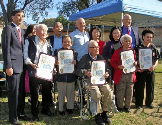 Awardees from the Sawtelle Nikkei community and their families at last year's festaival with Consul General of Japan Jun Niimi and City Councilmember Bill Rosendahl.