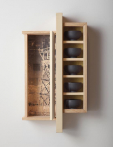 """Wendy Maruyama, """"Watchtower,"""" 2008, pine, sitka spruce, fir, ink and painted wood bowls, 32x18x8 inches, courtesy of Jane and Stephen Lorch. (Photo by Kevin J. Miyazaki)"""